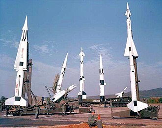 Project Nike - Nike missile family on display at Redstone Arsenal, Alabama. From left, MIM-14 Nike Hercules, MIM-23 Hawk (front), MGM-29 Sergeant (back), LIM-49 Spartan, MGM-31 Pershing, MGM-18 Lacrosse, MIM-3 Nike Ajax