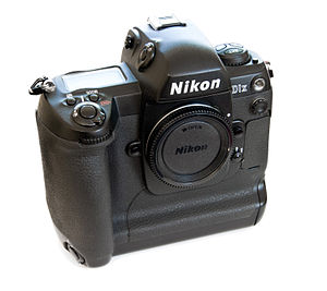 Nikon D1 - Nikon D1x. Uniquely for the D1 range, the D1x had a grey stripe on the handgrip (not pictured)