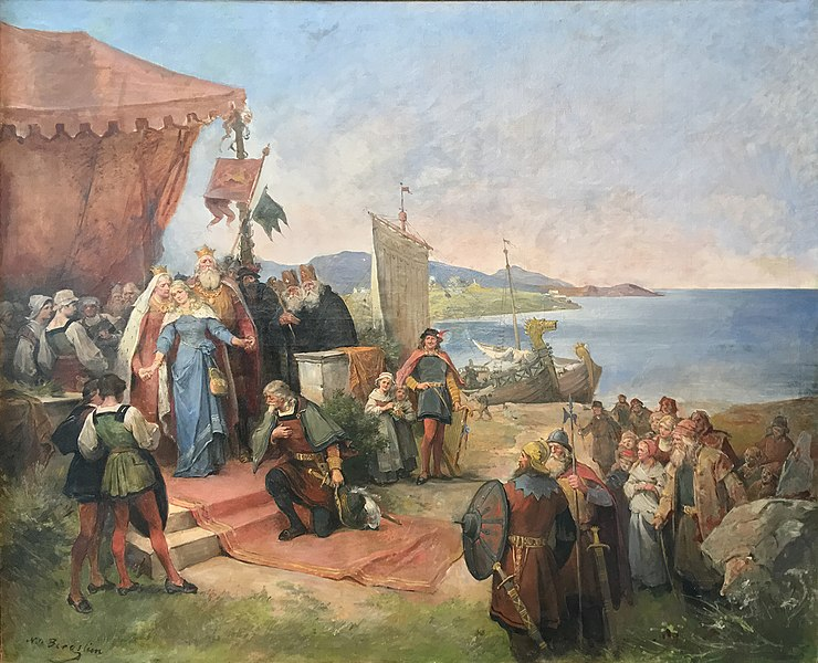 Fil:Nils Bergslien Kristinas avreise til Spanien (prinsesse Kristina av Tunsberg) painting oil on canvas 179x222 cm (70.5x87.5 in) displayed at Tønsberg og Færder bibliotek Public library Norway photo 2018-02-12 B cropped.jpg