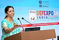 """Nirmala Sitharaman addressing the gathering after distributing prizes for National Level Open Challenge Competition """"Solution to Problem DefExpo 2018"""", during the DefExpo India – 2018, at Thiruvidanthai.jpg"""