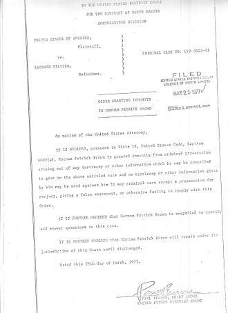 Leonard Peltier - Image: Norman Patrick Brown Immunity from prosecution Order Peltier case 1977