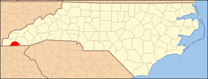 National Register of Historic Places listings in Clay County, North Carolina - Image: North Carolina Map Highlighting Clay County