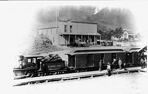 Freestone, California - North Pacific Coast Railroad train in Freestone, 1893