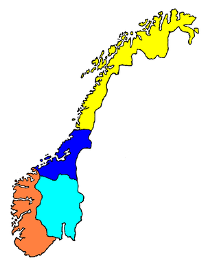 Norwegian dialects - Norway divided by the prevalence of four dialect groups