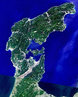 Noto Peninsula - Landsat image with high-resolution data from Space Shuttle