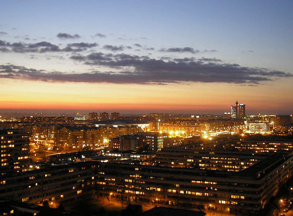 Novi Beograd - West view at sunset