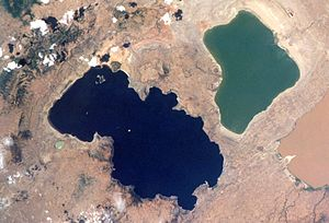 Lake Abijatta - Lake Abijatta (right) and Lake Shala (left)