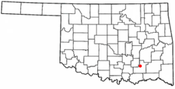 Location of Stringtown, Oklahoma