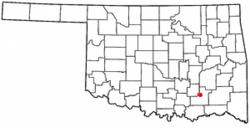 Location of Stringtown, Oklahoma