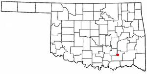 Stringtown, Oklahoma - Image: OK Map doton Stringtown