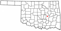 Location of Wetumka, Oklahoma