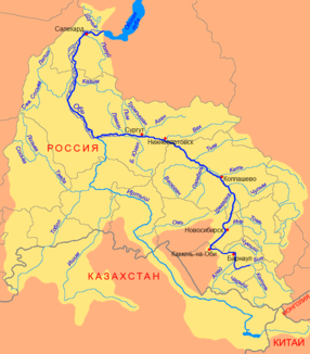 Course of the Wassjugan (Васюган) in the catchment area of the Ob