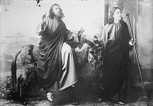 Oberammergau Passion Play - Jesus Christ and John, 1900 performance of the Oberammergau Passion Play.