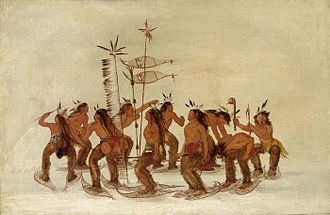 Snowshoe - Plains Ojibwa performing a snowshoe dance by George Catlin