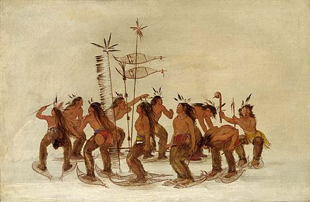 Plains Ojibwa performing a snowshoe dance by George Catlin Ojibwa dance.jpg