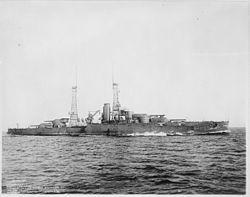 Oklahoma (BB37). Starboard bow, underway, 01-15-1916