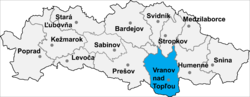 Location of Vranovas pie Topļas apriņķis