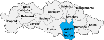Location of Vranov nad Topľou District in the Prešov Region.