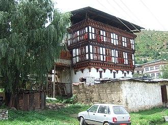 Architecture of Bhutan - An old house in Kawajangtsa, Thimphu