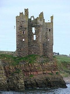 Keiss Castle castle ruins in Highland, Scotland, UK