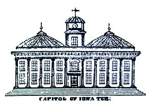 Iowa Old Capitol Building - 1839 sketch of planned Iowa capitol, from the original town plat.