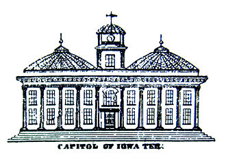 Iowa Old Capitol Building - 1839 sketch of planned Iowa capitol, from the original town plat