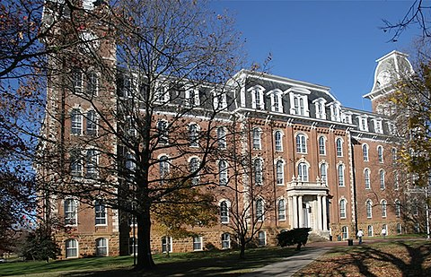 Old Main from the front side where Senior Walk begins. Old main fayetteville.jpg