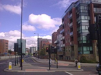Ecclesall Road - New apartment complex on the site of the Old Ward's Brewery, at the bottom of Ecclesall Road where it meets the Inner City Ring Road.