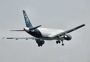 Airbus A320-200 landing at London Heathrow Air...