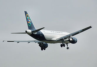 Olympic Air - Airbus A320-200 landing at London Heathrow Airport in 2010.