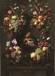 The Virgin Mary and the Child Jesus in a wreath of flowers and fruits