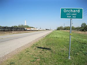 Orchard TX Sign Hwy 36.JPG