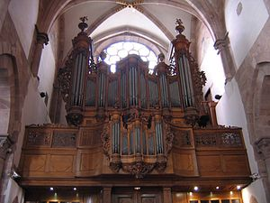 Old Pipe organ in Église Saint-Thomas, Strasbourg, France.