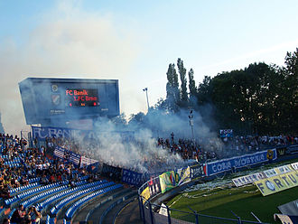 FC Baník Ostrava - Club supporters during the home match against 1. FC Brno