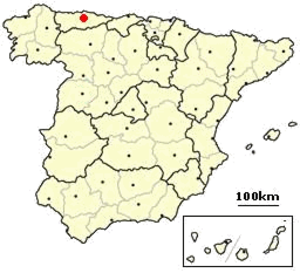 Siege of Oviedo - The map shows location of Oviedo in relation to the rest of Spain.