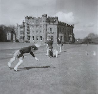 Oxenfoord Castle - Oxenfoord Castle building in 1963 with some schoolgirls in foreground