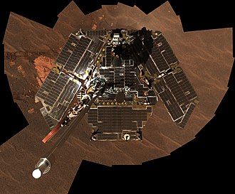 Opportunity mission timeline - Selfie looking down on its panels, December 2004
