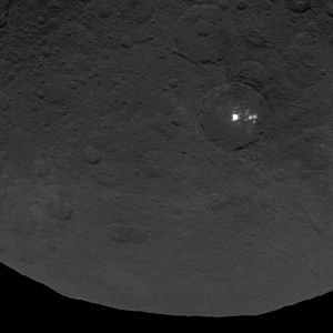 Bright spots on Ceres - Multiple bright spots in Occator crater stand out against the dark surface