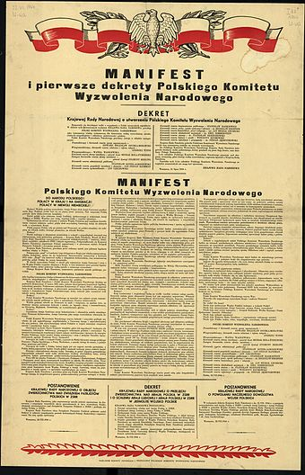 The PKWN Manifesto, officially issued on 22 July 1944 in Soviet-liberated Poland. It heralded the arrival of a communist government imposed by the USSR. PKWN Manifest.jpg