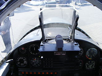 Head-up display - HUD mounted in a PZL TS-11 Iskra jet trainer aircraft with a glass plate combiner and a convex collimating lens just below it
