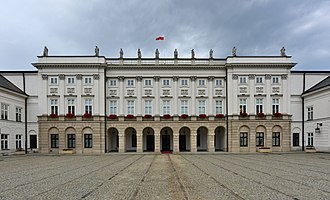 The Presidential Palace in Warsaw, Poland, where the Warsaw Pact was established and signed on 14 May 1955 Palac Prezydencki w Warszawie korpus glowny 2019.jpg