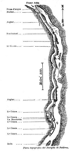 Naviglio di Paderno - Plan of the canal