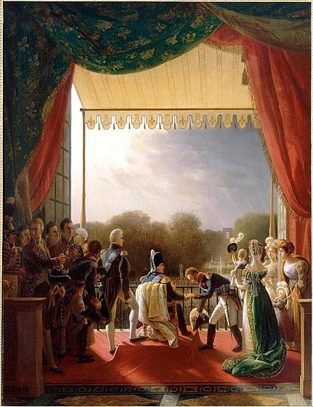 Louis XVIII on a balcony of the Tuileries Palace receiving the Duke of Angouleme after his successful military campaign in Spain. Painting, Louis XVIII and the French Royal Family, Louis Ducis.jpg