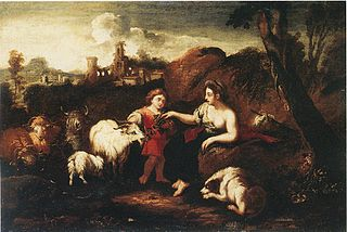 Landscape with figures and animals