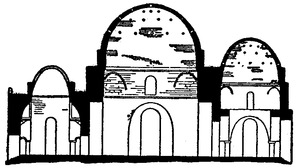 Sarvestan Palace - Drawing of the Palace of Sarvestan. The palace measures 130 ft. frontage and 143 ft. deep, with an internal court.