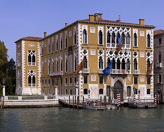 Venetian Gothic architecture - The Palazzo Cavalli-Franchetti on the Grand Canal; the 15th-century window style of the facade was extended to the sides in the 19th century.