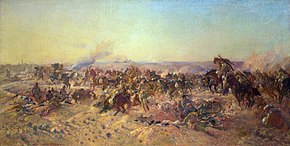 Painting of smoky, cavalry attack