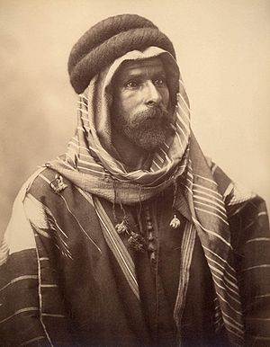 Agal (accessory) - Black Agal worn by Bedouin Chief of Palmyra of Syria photo by Félix Bonfils in 1870
