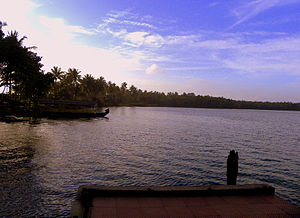 Geography of Kerala - An evening scene from Paravur Lake in Kollam