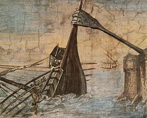Siege of Syracuse (214–212 BC) - Detail of a wall painting of the Claw of Archimedes sinking a ship (c. 1600).